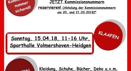 Flohmarkt – Kommissionsnummern jetzt reservieren!